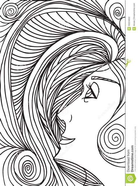 abstract sketch  woman face stock photography image