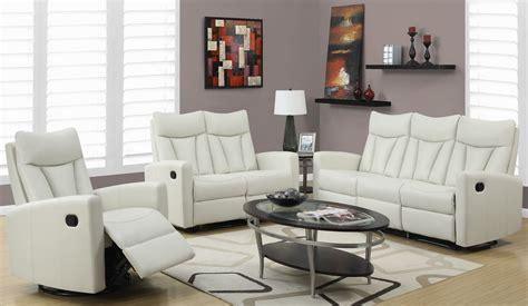iv  ivory bonded leather reclining living room set