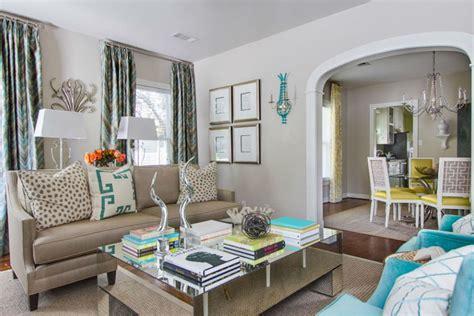 aqua  yellow contemporary living interiors  color