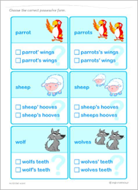 possessive nouns grammar worksheets  kids learning
