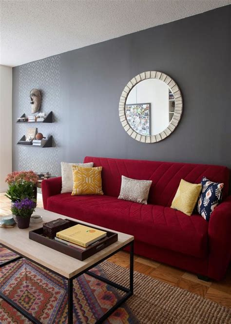 match  rooms colors  bold fabric red couch