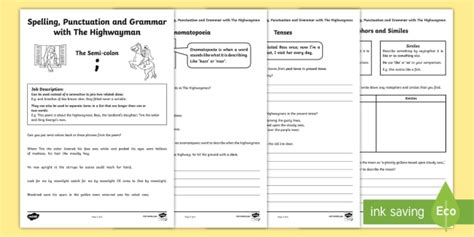 spelling punctuation and grammar with the highwayman