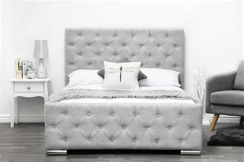 King Bed Frame Gray by Buckingham Grey Fabric Upholstered Buttoned Headboard Bed