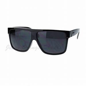 KUSH Men's Sunglasses Flat Top Square Frame Black Dark ...