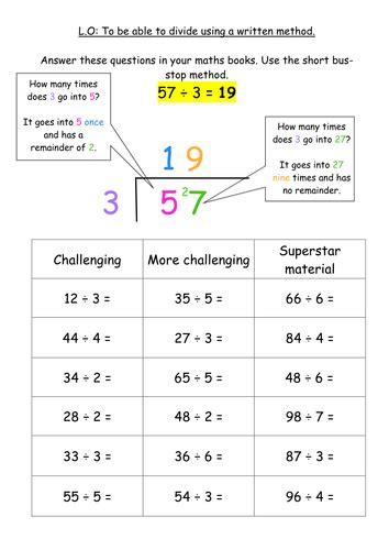ks2 division written method bus stop method nicely