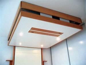 Lit Au Plafond Electrique : bedup le lit escamotable qui grimpe au plafond ~ Premium-room.com Idées de Décoration