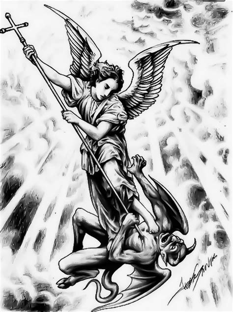 34 best Saint Michael Tattoo Outlines images on Pinterest | Archangel michael, Saint michael and
