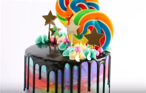 watercolor drip chocolate cake