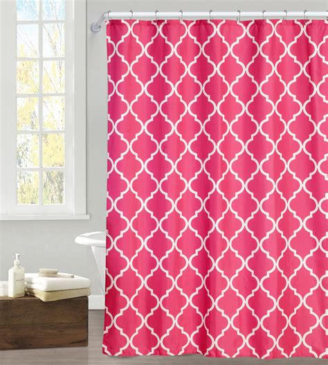 essential home microfiber shower curtain pink geo print