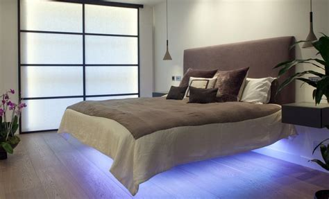 bed with lights floating beds elevate your bedroom design to the next level