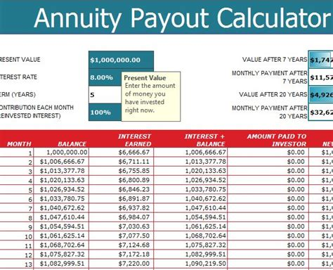 annuity payout calculator  excel templates