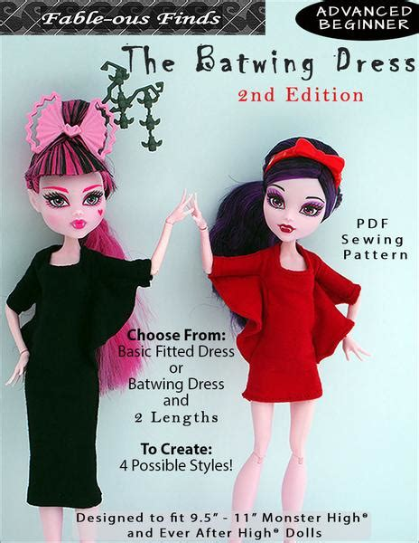 fable ous finds batwing dress doll clothes pattern