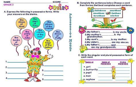 grammar worksheets grade 2 possessive nouns 2nd grade