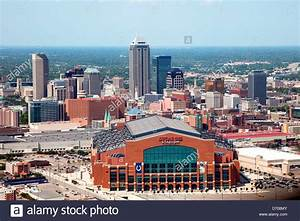 Aerial of Downtown Indianapolis, Indiana with Lucas Oil ...