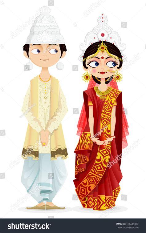 easy edit vector illustration bengali wedding stock vector