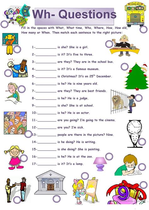 wh questions exercises for kindergarten wh questions worksheet free esl printable worksheets