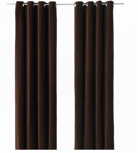ikea sanela curtains drapes  panels dark brown velvet
