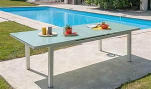 Table De Jardin Aluminium Et Verre : table de jardin en aluminium avec rallonge en verre table extensible ~ Teatrodelosmanantiales.com Idées de Décoration