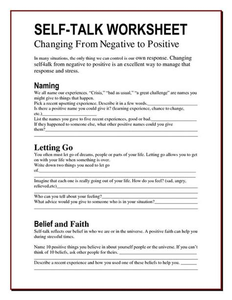 the worry bag self talk worksheet the healing path with