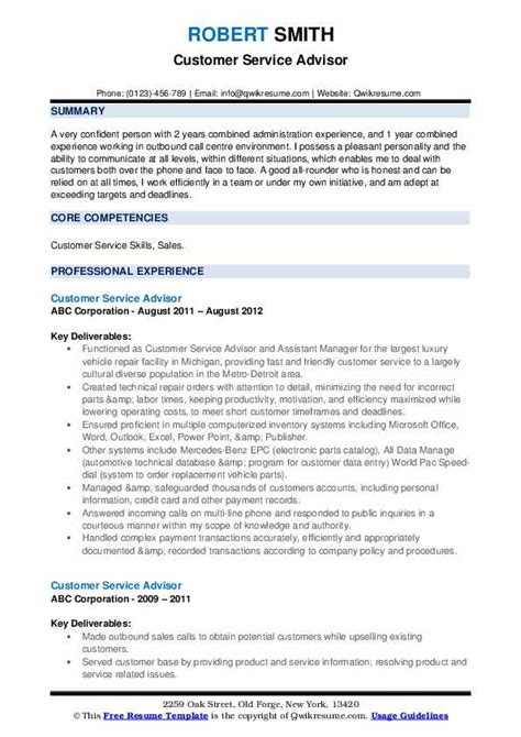 Service Advisor Resume by Customer Service Advisor Resume Sles Qwikresume