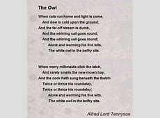 The Owl Poem by Alfred Lord Tennyson Poem Hunter