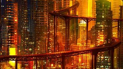 Cyberpunk Future Night Road Architecture Lights 1080p