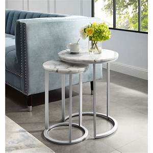 Inspired, Home, Asbille, Nesting, End, Table, Round, Natural, Marble, Top, Stackable, Metal, Base, Set, Of, 2