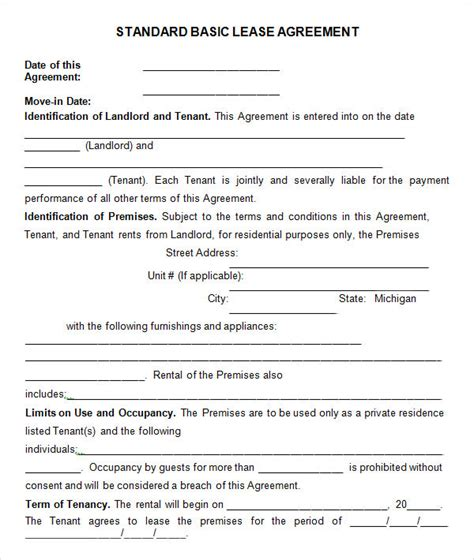 basic lease agreement template 8 useful sle leasing agreement templates sle templates