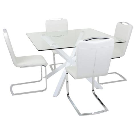 glass table with 4 chairs square white glass dining table set with four chairs