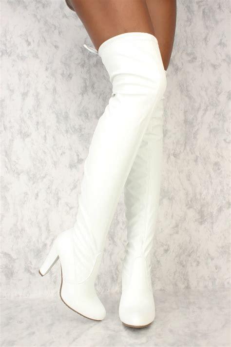 white  toe chunky ami clubwear thigh high boots faux