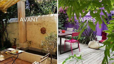 avant apres oser la couleur en exterieur  jardins