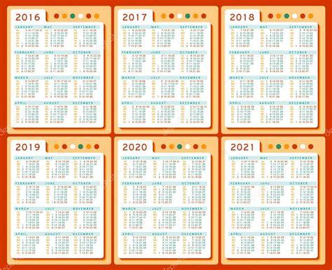 달력 2016 2017 2018 2019 2020 2021 벡터 영어로 설정입니다. 주 일요일 시작