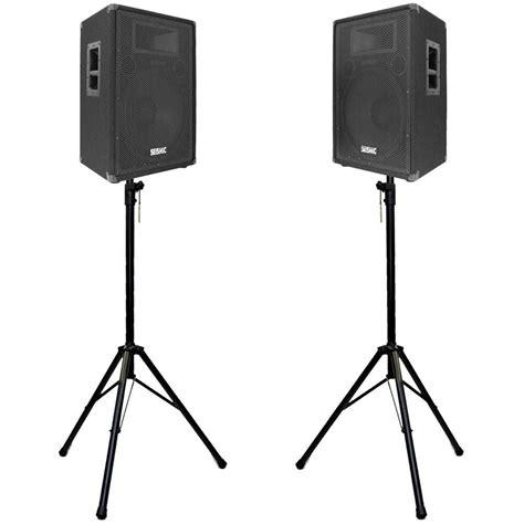 pair  premium  pa speakers   tripod speaker stands seismic audio