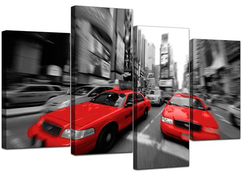 york canvas prints  black white red  living room