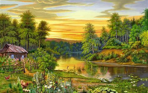 Beautiful Landscape, Nature, Trees, River, House 126571 ...