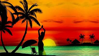 Sunset Tropical Island Beaches Beach Background Wallpapers