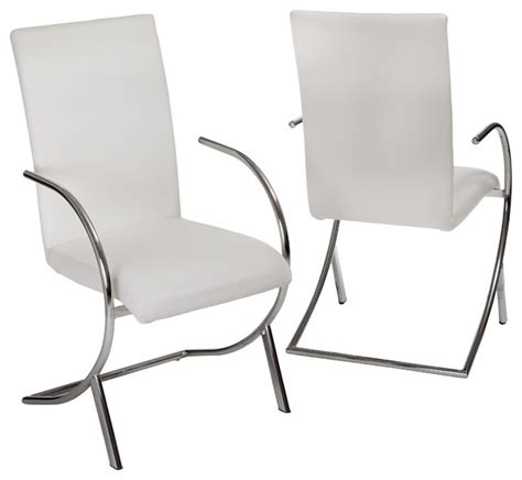 prima white leather side chairs set of 2 modern