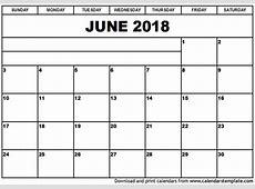 June 2018 Calendar monthly calendar 2017