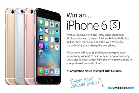 win a iphone 6 win an apple iphone 6s smartphone color of choice