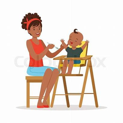 Feeding Highchair Mother African Madre Happy Chair