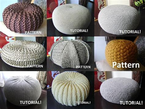 9 knitted crochet pouf floor cushion patterns crochet pattern knit pattern pouf ottoman