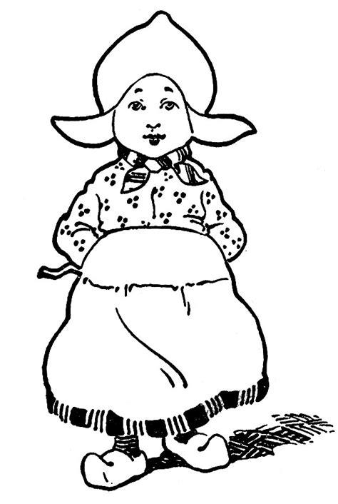 vintage kids printable connect  dots color dutch girl  graphics fairy