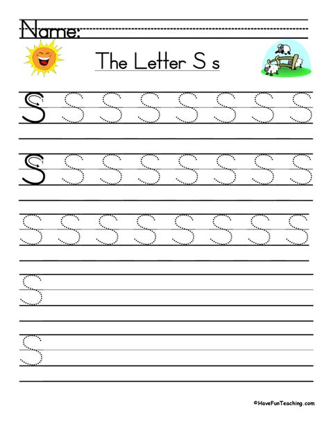 letter s handwriting practice