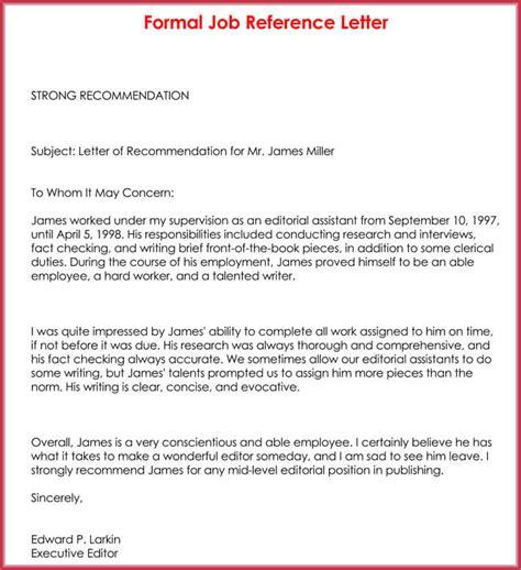 formal reference letter  samples formats
