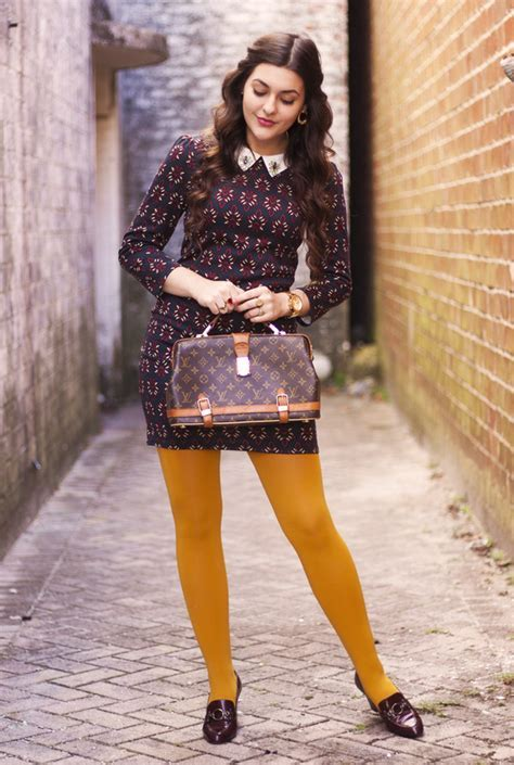 Dress: carly maddox, blogger, tights, jewels, mustard