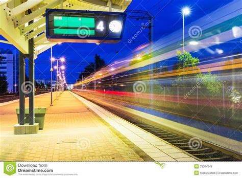 night railway station royalty  stock  image