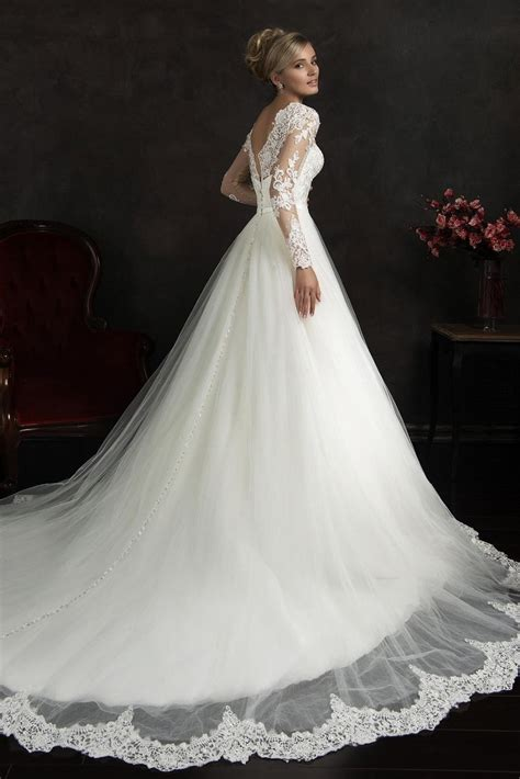 new robe de mariage romantic white long sleeve lace princess wedding dresses 2017 elegant long sleeve wedding gowns bridal gowns