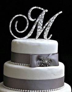 4quot inch monogram cake topper decorated with pearls and With letter m wedding cake topper