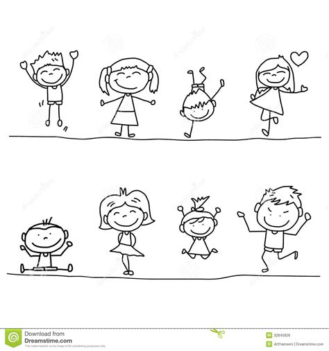 hand drawing cartoon happy kids stock illustration