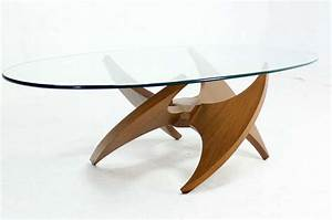 mid century modern walnut propeller base oval coffee table With mid century modern coffee table glass and wood
